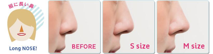 縦に長い鼻